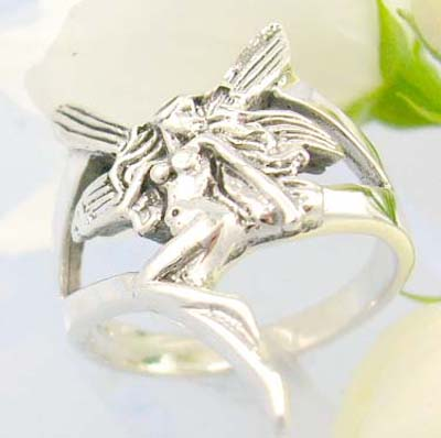Online wholesale silver jewellery manufacturer supply Sterling silver ring with sexy women with butterfly wings