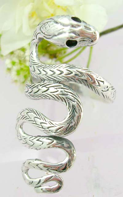 Cool wholesale silver jewellery catalog Sterling silver ring with a snake