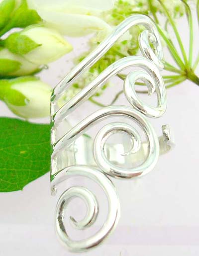 Online jewelry fashion wholesaler supply manufacture catalog Sterling silver ring with fan shape and spiral decor