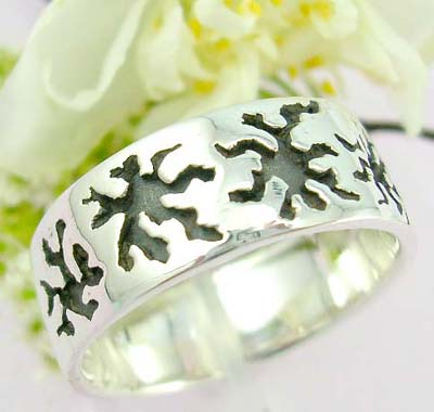 Online body display jewelry Sterling silver ring with sun black tattoo pattern