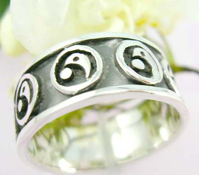 Body cheap jewelry catalog Sterling silver ring with YIN YANG pattern