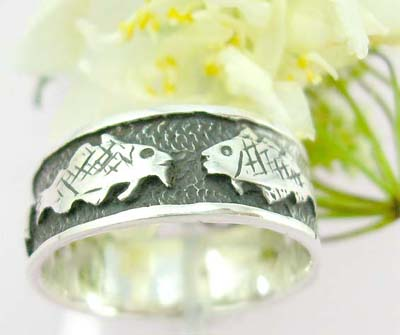 Body custom jewelry catalog Sterling silver ring with fish black tattoo pattern